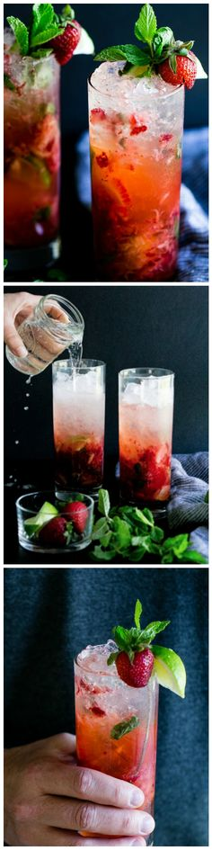 Strawberry Mojito - Fizzy, minty, slightly sweet and packed with strawberries and lime, this cocktail is sure to quench your afternoon thirst.