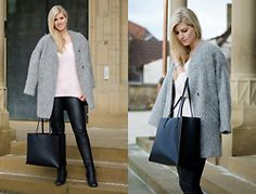 Lena B - Zara Coat, Zara Shopper, Zara Knit, H&M Leather Pants, Nelly Pistol Boots, Michael Kors Watch - Fluffy Coat