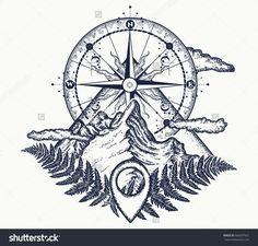 stock-vector-mountains-and-compass-tattoo-symbol-of-tourism-rock-climbing-camping-mountain-top-and-vintage-666397822.jpg (1500×1434)