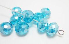 10 Aqua AB Swarovski Rondelles 4140 by WhispySnowAngel on Etsy, $2.25