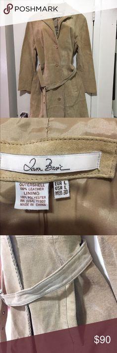 Suede coat. Beige. Sz. large. Button down. Belt. Vintage. Beige suede coat. Button down coat size large. Detachable belt. Jackets & Coats Trench Coats