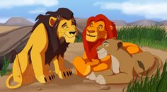 Mufasa, and Sarabi showing simba off to Grandparent Ahadi((from fanfiction))