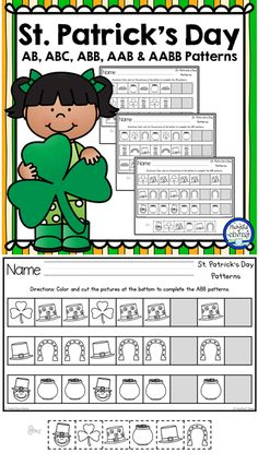 St. Patrick's Day printable patterns worksheets are perfect for morning work, homework or centers in kindergarten.