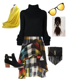 """A Plaid of Sunshine"" by coomergirl on Polyvore featuring Preen, IO Ivana Omazić, Yves Saint Laurent, Sole Society, Linda Farrow and Gucci"