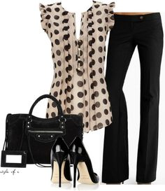 Polka dot blouse with black pants and accessories. Perfect for work or a dinner date.