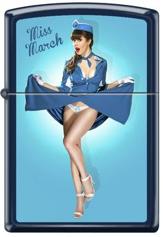 Pinup Lighters Custom Zippos - Calendar Girl Claire Sinclair Zippo Lighter Miss March