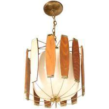 Vintage MID CENTURY Teak and Brass DANISH Modern Light Fixture Chandelier GLOBE