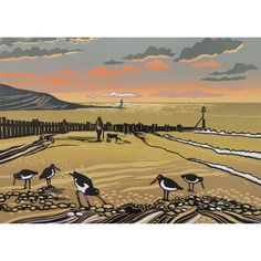'End of The Day' by Printmaker Rob Barnes. Blank Art Cards by Green Pebble. www.greenpebble.co.uk