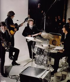 """The Beatles filming A Hard Day's Night at the Scala Theatre, 1964. Scanned from """"Beatles Memorabilia: The Julian Lennon Collection."""""""