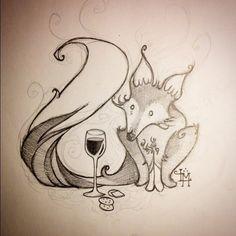 #fox #wine #drawing #illustration #artist #sketchbook #fantasy #folklore #picnic #doodle #woodlandcreatures #wineglass #fantasyart