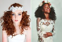 Penteados para noivas de cabelos cacheados - cabelo solto com headband e com tiara de flores naturais