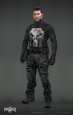 Punisher Season 2 fan art Costume Concept -Slick back hair -Inside the ear protection/communication (to Microchip) -modern compression Combat shirt -Punisher skull plate carrier magazine pouch chest rig pistol mag 1 rifle mag belt -kydex holster Marvel Dc, Marvel Comics, Punisher Comics, Marvel Comic Universe, Marvel Cinematic Universe, The Punisher, Captain Marvel, Comic Book Characters, Marvel Characters