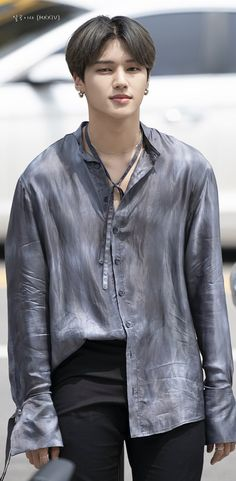 Falling In Love With Him, I Fall In Love, Denim Button Up, Button Up Shirts, Jung Woo Young, Love Is When, Hello Gorgeous, Boy Groups, Leather Jacket