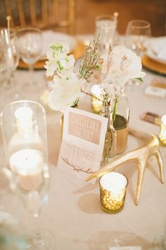 Gilded antler for a rustic tablescape | Photography: onelove photography - www.onelove-photo.com/  Read More: http://www.stylemepretty.com/california-weddings/2014/05/09/cozy-union-hill-inn-wedding/