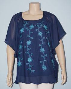 Dressbarn 2x Blue Floral Embroidery Kimono Short Sleeve Peasant Blouse Top #Dressbarn #Blouse #Casual