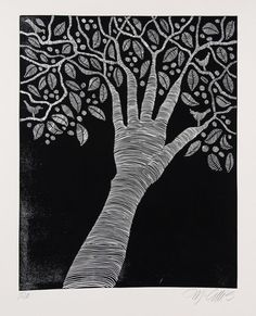 linocut, create, black and white tree with birds, everything artists do come from their hands