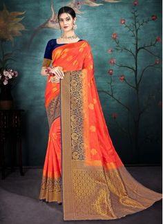 Charming Silk Festival Classic Saree Silk Sarees, Banarasi Lehenga, Orange Fabric, Blouse Online, How To Dye Fabric, Sari, Festival Wear, Design Show, The Selection