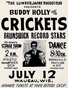 Buddy Holly & The Crickets - Wausau Wisconsin - 1958 - Concert Poster