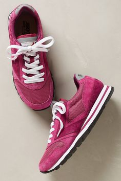 Pink running shoes.