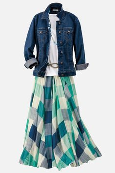 See the jacket in this Pin. Like the longer length. Like the line of the skirt, but not large check pattern