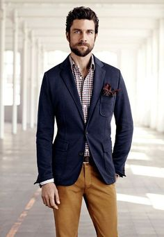 Checkered plaid button up, navy coat and brown denim