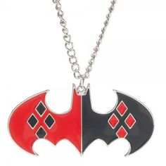 """Jingle bells Bratgirl smells, Birdboy laid an egg! The batmobile lost a wheel and Puddin got away!"" - Harley Quinn Entice your ""Joker"" boyfriend with the Harley Quinn Batman Necklace! Good meets evil"