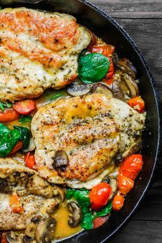 Easy, flavor-packed skillet chicken dinner w/ an Italian twist! Chicken cutlets cooked in a white wine sauce w/ garlic, tomatoes, mushrooms! 30 mins or less