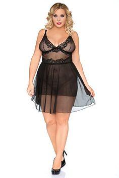 Fashion Bug Women Plus Size Black Sheer Chemise SB/1010 Adjustable Straps…