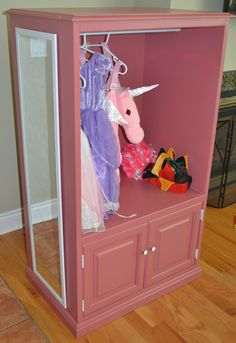 Saw this on HGTV and loved it! Cute wardrobe for a little girls dress up clothes made out of an old dresser.