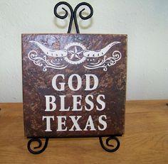 "Texas Tile Stone Art-""God Bless Texas"" Texas Decor"