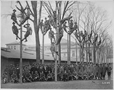 Telephone electricians learning to climb poles, 1914.