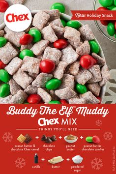 Add all the peanut butter to this take on our classic Muddy Buddies™ recipe. Using Peanut Butter Chex, Chocolate Chex and peanut butter chocolate candies, you have double the peanut butter fun in this colorful mix. treats Buddy The Elf™ Muddy Mix Easy Holiday Recipes, Holiday Snacks, Christmas Party Food, Christmas Cooking, Christmas Desserts, Christmas Recipes, Christmas Candy, Christmas Chocolate, Christmas Chex Mix