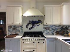 Barbara Allen Blue Lobster Glass Splashback, exclusive to DIY Splashbacks. This beautiful New England Style kitchen nails the Hampton's look.