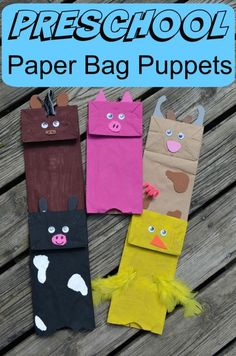 Preschool paper bag puppets - down on the farm. Cute craft with the kids to keep them busy this fall! Easy too!