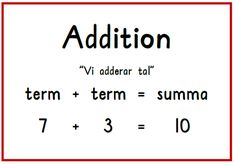 Addition plansch Teaching Schools, Teaching Math, Maths, Montessori Materials, Teaching Materials, Learn Swedish, Swedish Language, Math Charts, Language And Literature