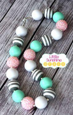 Mint Pink & Grey Chunky Bubblegum Necklace by LittleSunshineGrace