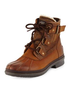 Cecile Lace-Up Weather Boot, Chestnut by UGG Australia at Neiman Marcus.
