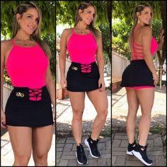 Conjunto Belly Pink Hottest Models, Academia, Cheer Skirts, Ideias Fashion, Short Dresses, Shorts, Closet, Women, Fitness Apparel