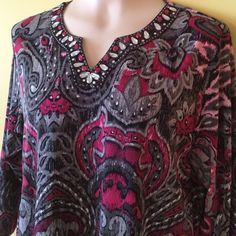 """Alfred Dunner 3/4 Length Sleeve Top Beautiful 3/4 length sleeve polyester and spandex top. Neckline is beautifully embellished. Pretty color of pink, burgundy, black and gray. 24"""" long. Excellent condition. Alfred Dunner Tops"""