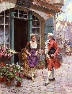 The Flower Merchant by Henri Victor Lesur. 19th century.