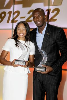 Bolt and Felix at World Athlete of Year, by Alfons Juck, note by Larry Eder Track And Field, Larry, Athlete, World, Sports, Hs Sports, Track Field, The World, Track
