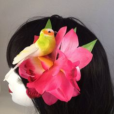 Tropical Bird Pink Triple Orchid Tiki Rockabilly by CuriousCatUK