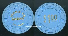 #LasVegasCasinoChip of the day is a $1 Jennie V's casino 1st issue 1976 you can get here https://www.all-chips.com/ChipDetail.php?ChipID=17394 #CasinoChip #LasVegas
