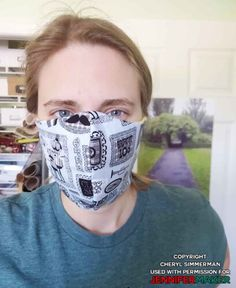 Homemade face mask made by Cheryl Simmerman using the DIY Face Mask Pattern by JenniferMaker Easy Face Masks, Homemade Face Masks, Diy Face Mask, Face Reading, Making Faces, Fabric Markers, Diy Mask, Mask Making, Cricut Explore