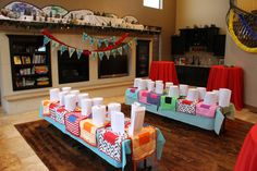 Master Chef Birthday Party Set-Up homemade aprons for each child