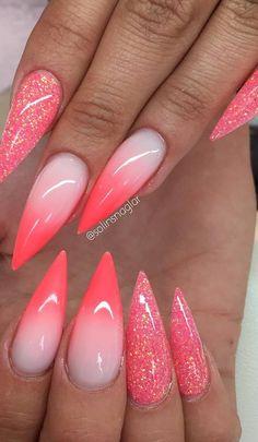 """Egenblandat glitter (korall/rosa) och Ombre i Frosted Pink och """"Neon Korall"""""""