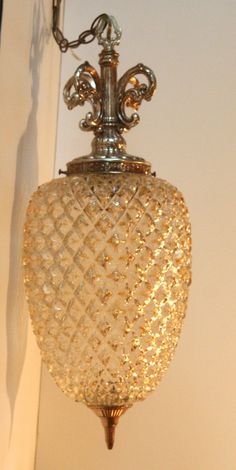 vintage pendant light fixture ceiling swag lamp glass and brass pineapple chandelier