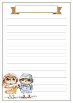 Printable lined paper with owls in rain coats and scroll title space Stationary Printable, Printable Lined Paper, Journal Paper, Journal Cards, Cute Journals, Christmas Stationery, Specialty Paper, Stationery Paper, Writing Paper
