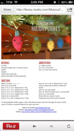 Crochet Christmas lights garland....so cute for the bookcase or a mantle!