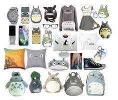 """""""Totoro Looks ✨"""" by macaulere ❤ liked on Polyvore featuring Ray-Ban, JINsoon, Nine West, Ghibli, Dot & Bo, Gund and CellPowerCases"""